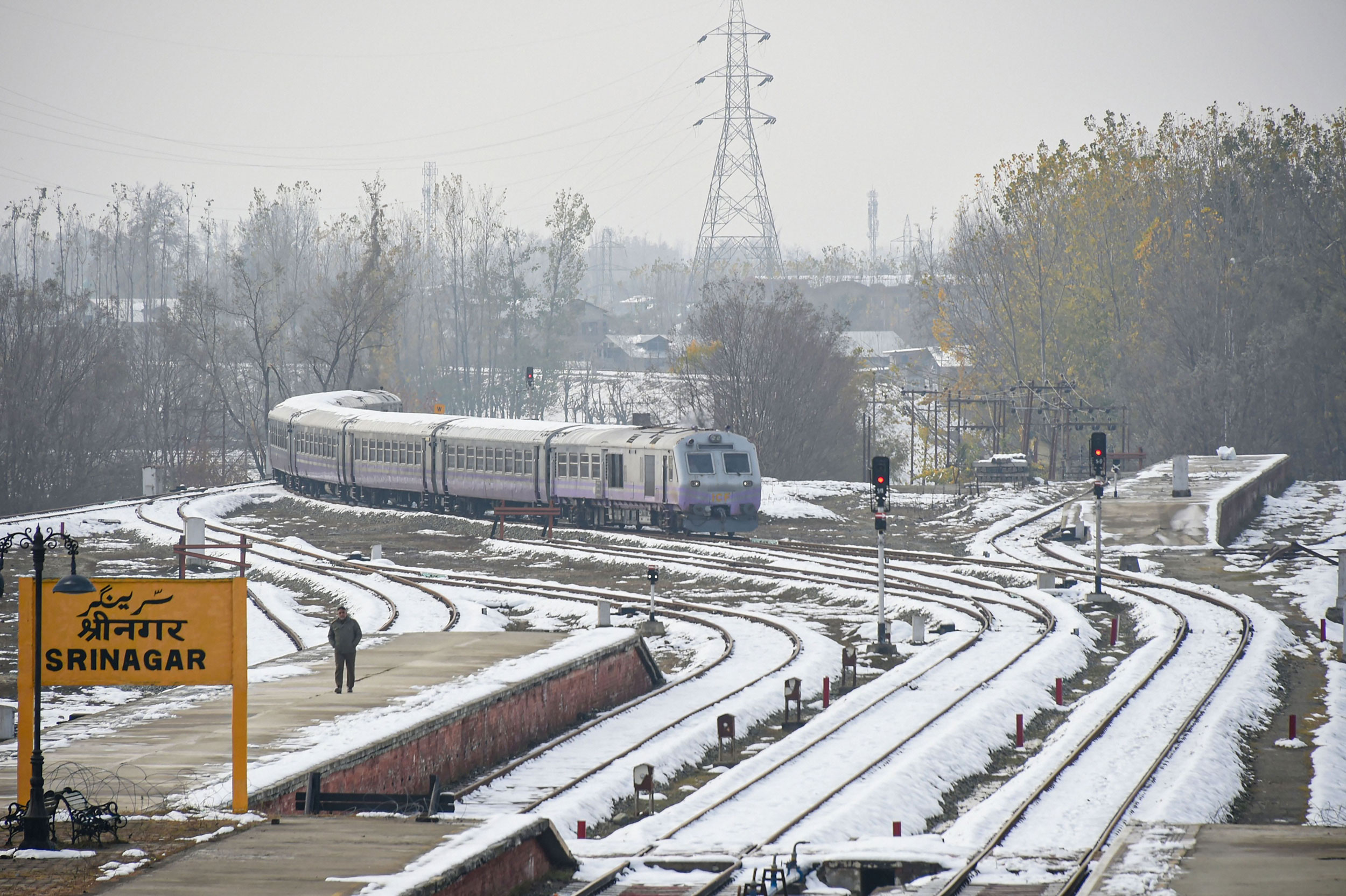 A train arrives at a station after rail services resumed in Srinagar on November 12, 2019.