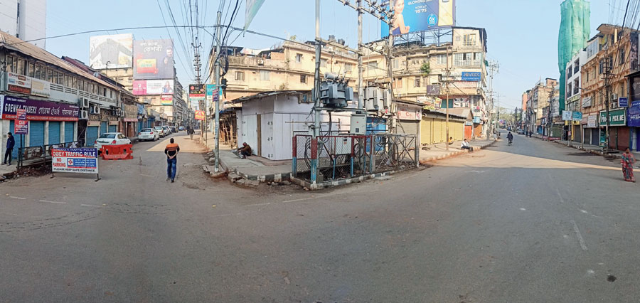 A deserted Fancy Bazar in Guwahati during the Neso bandh on Tuesday.