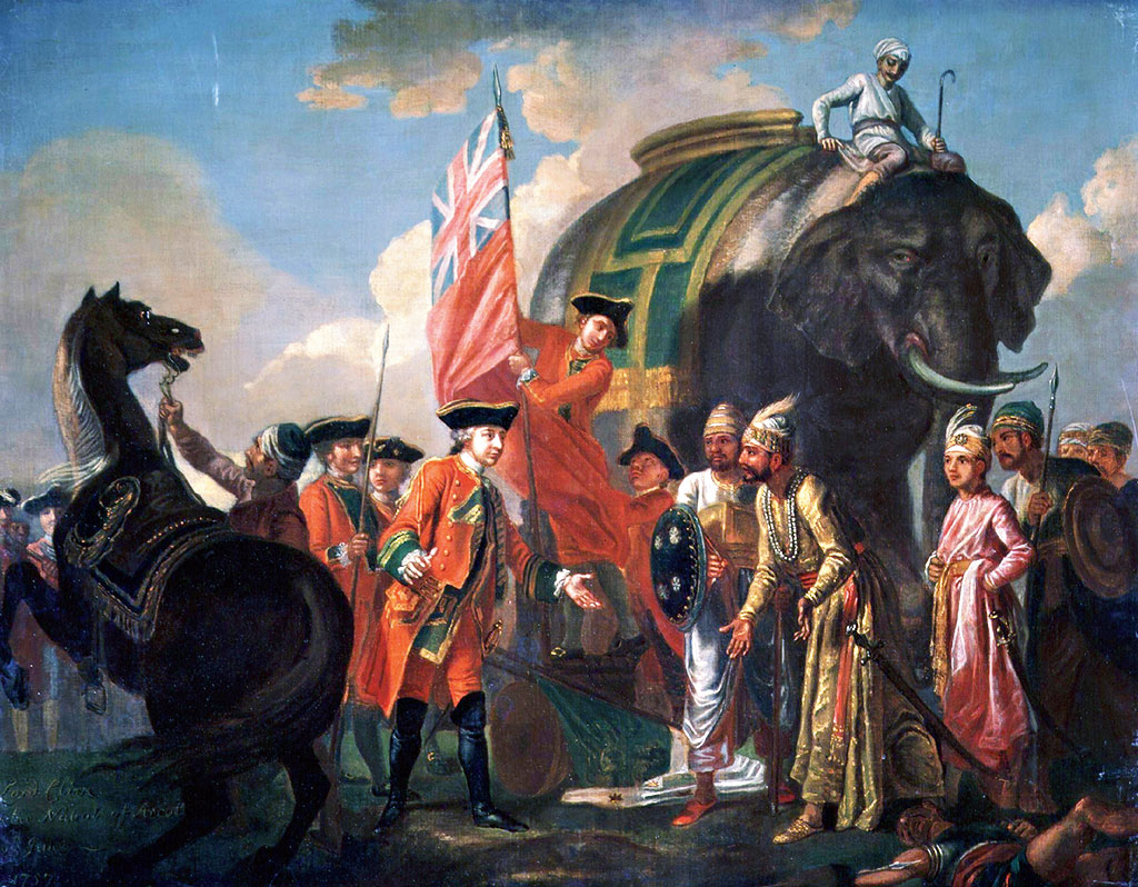 Robert Clive and Mir Jafar after the Battle of Plassey, 1757, painting by Francis Hayman