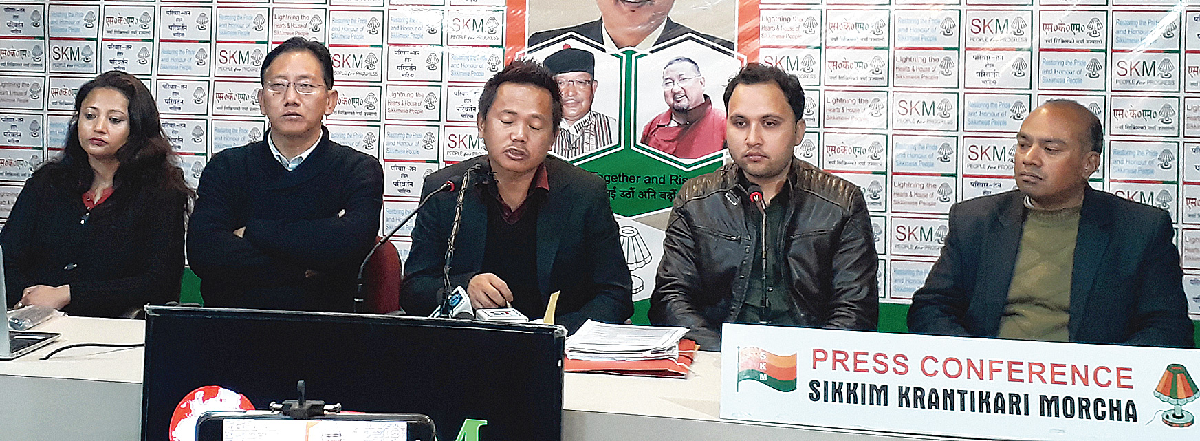SKM leaders address the media in Gangtok on Tuesday.