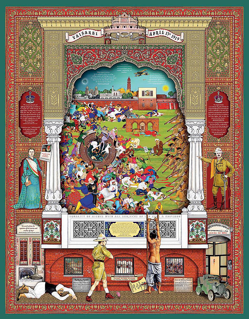 The artwork, 'Jallianwala: Repression and Retribution', by British artists Rabindra Singh and Amrit Singh, unveiled at Manchester Museum