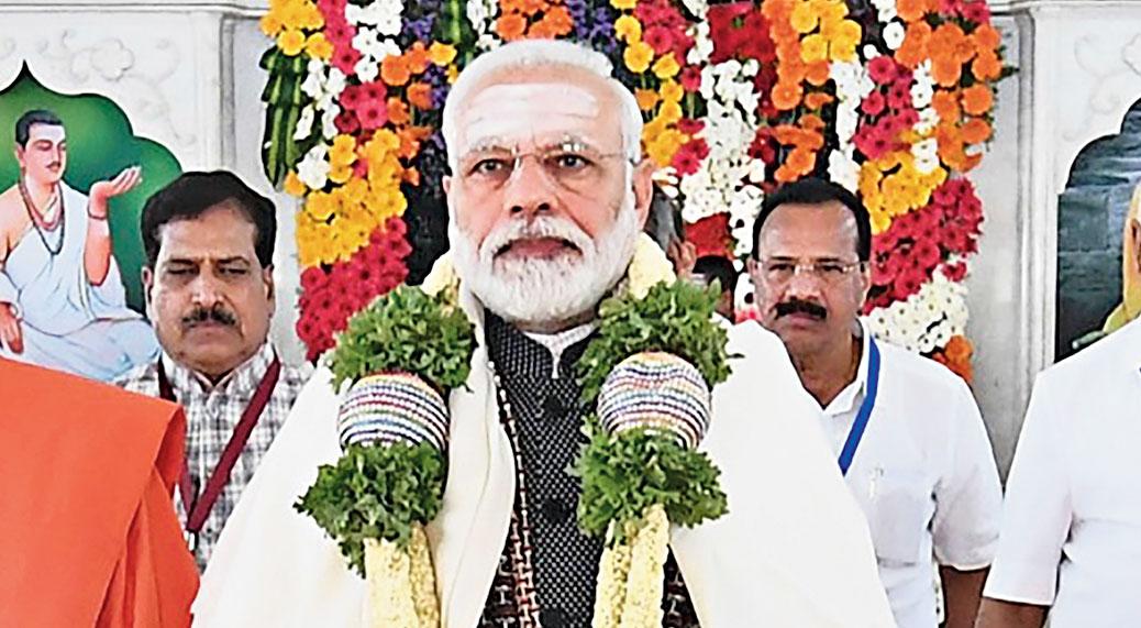 Narendra Modi at the Siddaganga Mutt in Tumkur, Karnataka, on Thursday.