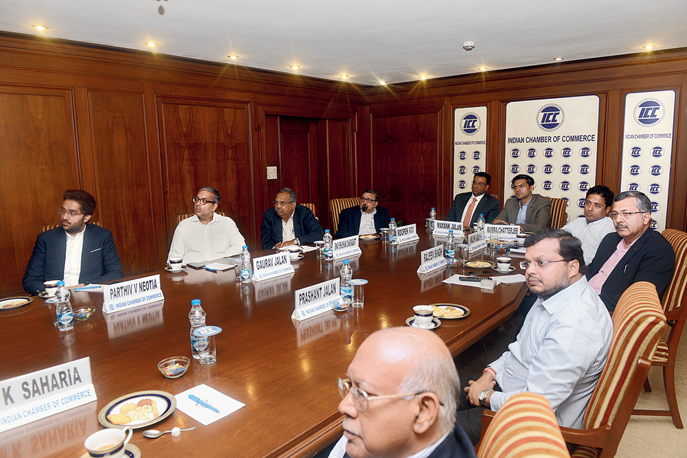Officials of the Indian Chamber of Commerce in Calcutta on Friday