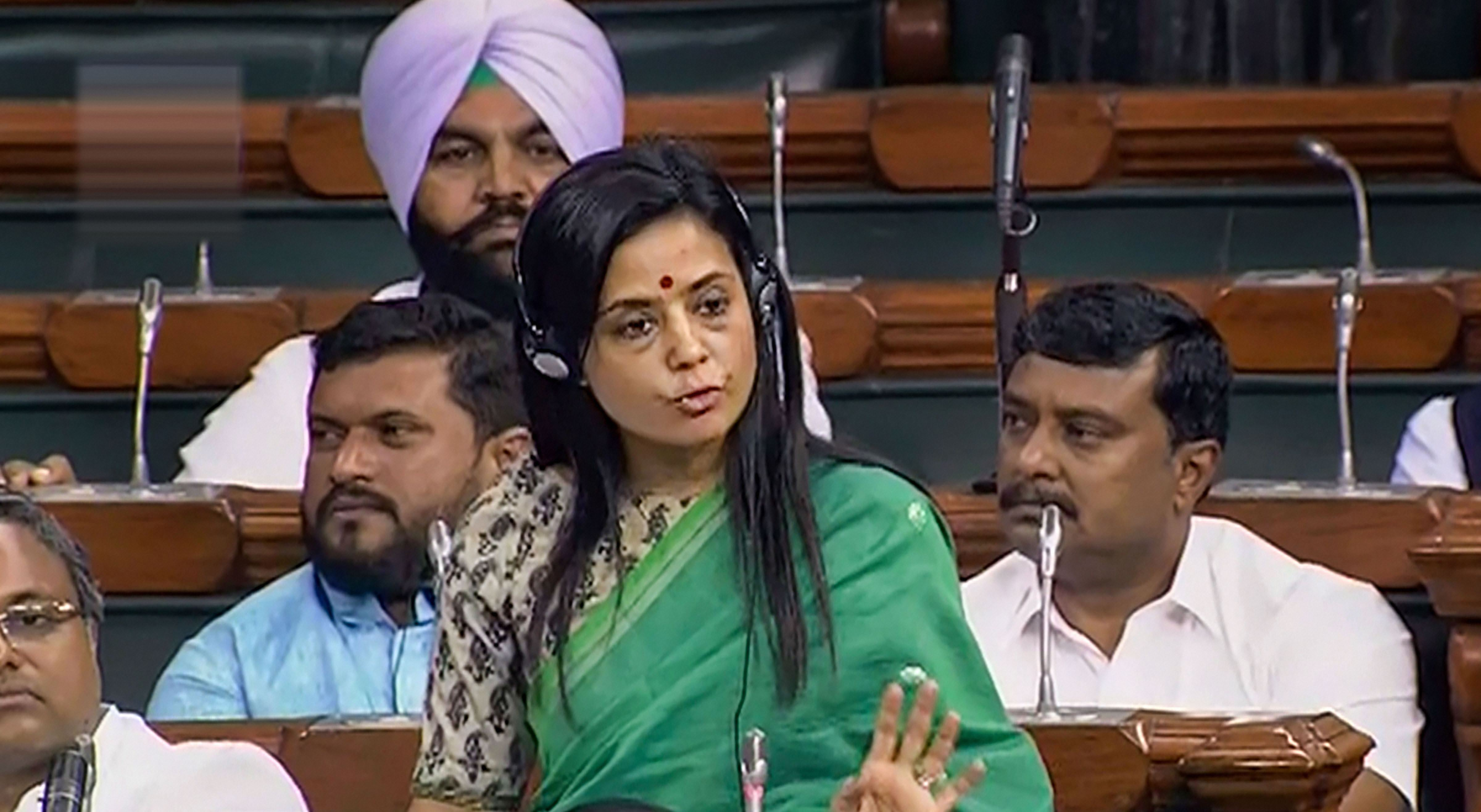 TMC MP Mahua Moitra speaks in the Lok Sabha during the Parliament budget session in New Delhi on Tuesday, July 2, 2019