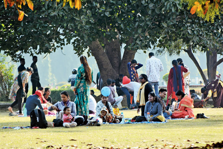 Visitors enjoy the chill at Jubilee Park in Jamshedpur on Tuesday.