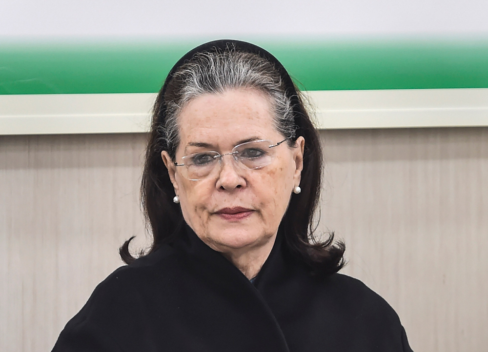 Sonia Gandhi at the meeting in New Delhi on Saturday