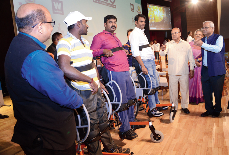 The standing wheelchair being demonstrated in IIT Madras