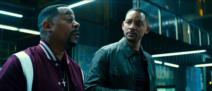 Will Smith and Martin Lawrence as, respectively, the Miami detectives Mike Lowrey and Marcus Burnett