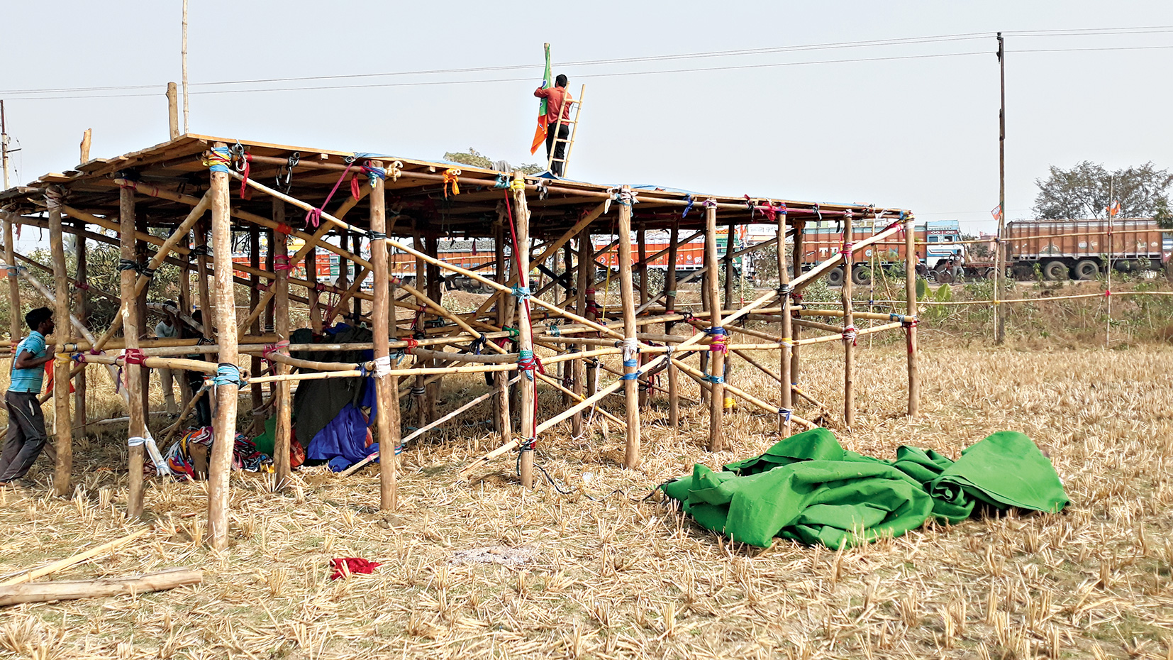 Green carpet near the BJP rally site in Suri.