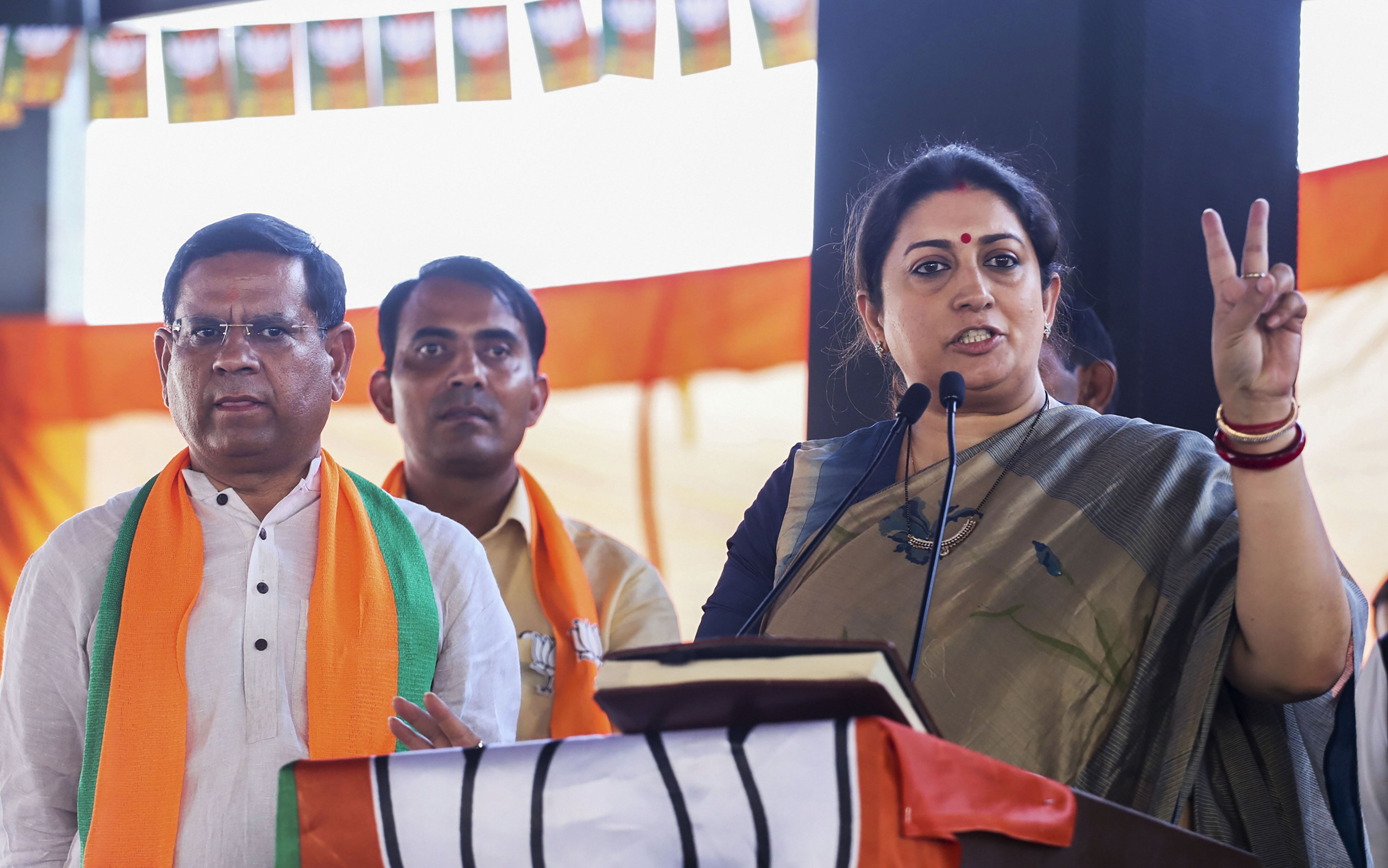 Union minister Smriti Irani addresses a rally ahead of the Haryana Assembly election in support of BJP candidate from Tigaon Rajesh Nagar, in Faridabad, Thursday, October 10, 2019