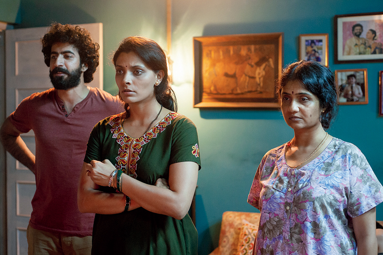 LIFE IN THE TOUGH LANE: (L-R) Roshan Mathew, Saiyami Kher and Amruta Subhash in a moment from Choked