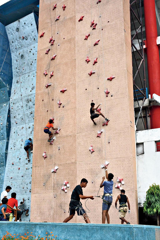 Sport climbing training at the TSAF facility in Bistupur, Jamshedpur