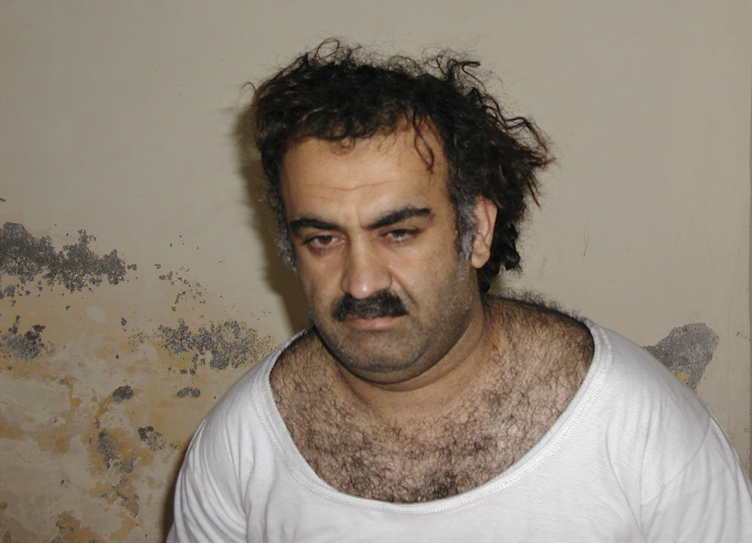 A photo provided by the United States Department of Justice of Khalid Shaikh Mohammed after his capture during a raid in Pakistan on March 1, 2003.
