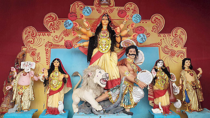 The puja by Durbar Mahila Samanwaya Committee