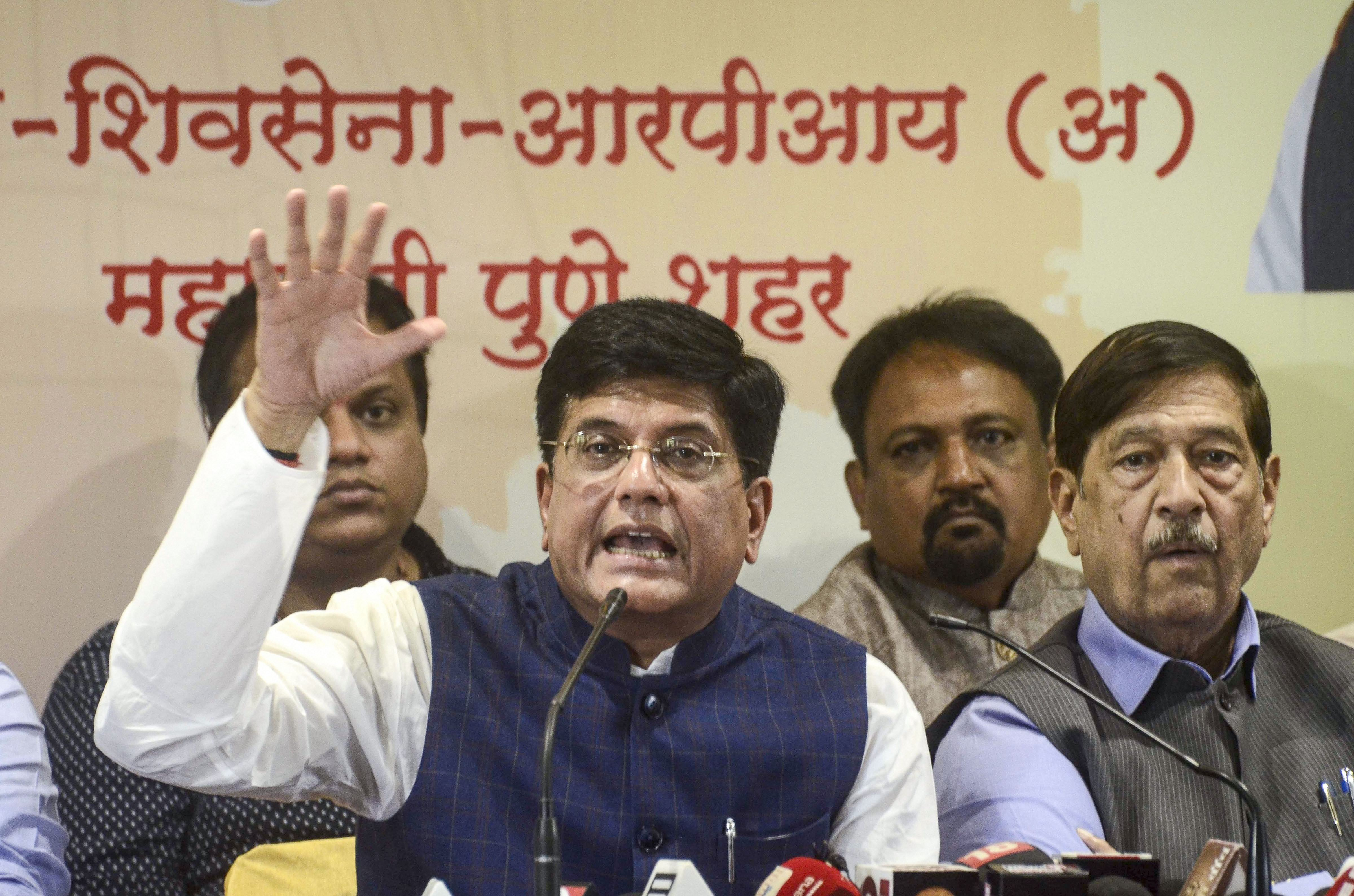 Union Minister Piyush Goyal addresses a press conference in Pune, Friday, October 18, 2019.