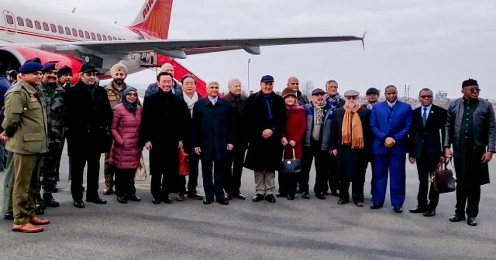 The diplomats at the airport in Srinagar on Thursday