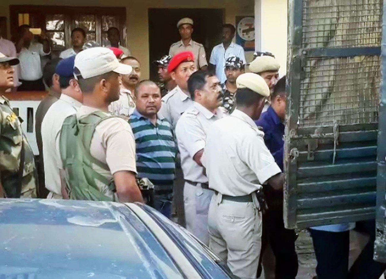 The accused being produced in court in Dhemaji on Thursday.