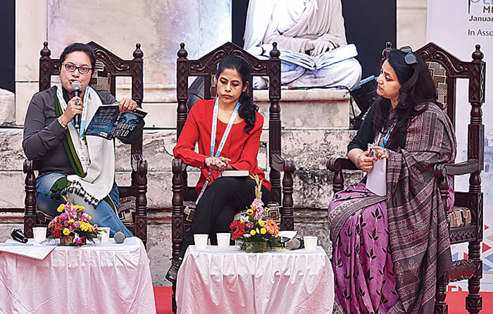 Sukanya Das (far right) moderated the discussion that featured Sharmistha Gooptu (centre) and Kanchana Banerjee, who spoke about their respective new books.