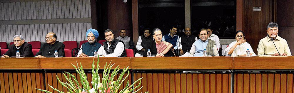 (From left) Sitaram Yechury, Sharad Pawar, Manmohan Singh, Rahul Gandhi, Sonia Gandhi, Sharad Yadav, Mamata Banerjee and N Chandrababu Naidu at the Opposition parties' meeting in New Delhi on Wednesday.