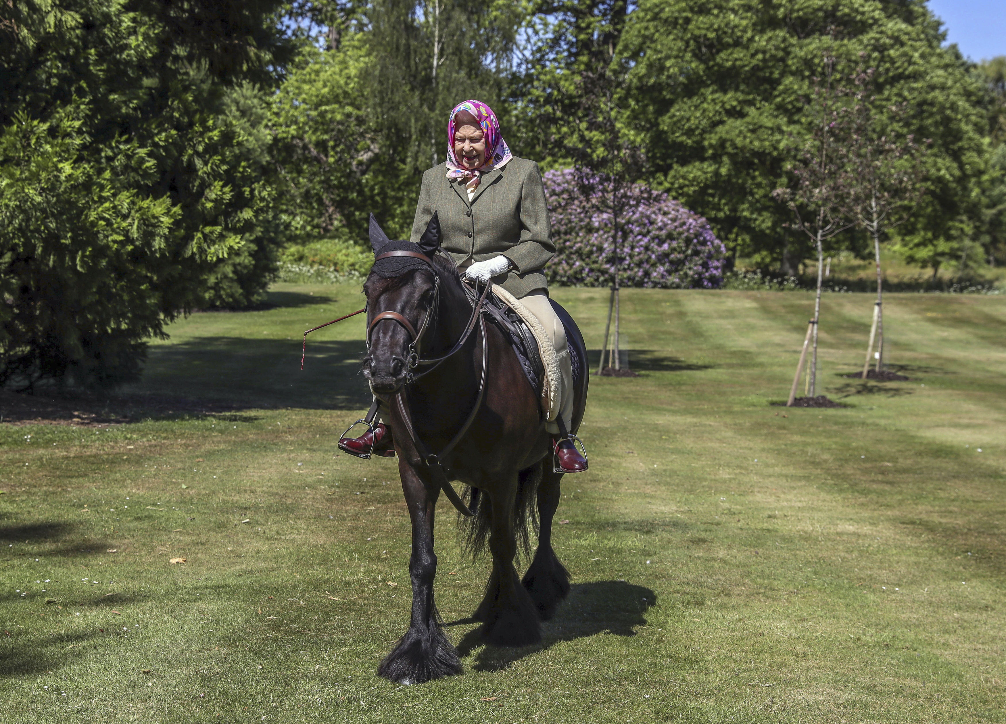 Queen Elizabeth II rides Balmoral Fern, a 14-year-old Fell pony, in Windsor Home Park, Britain, on Sunday.