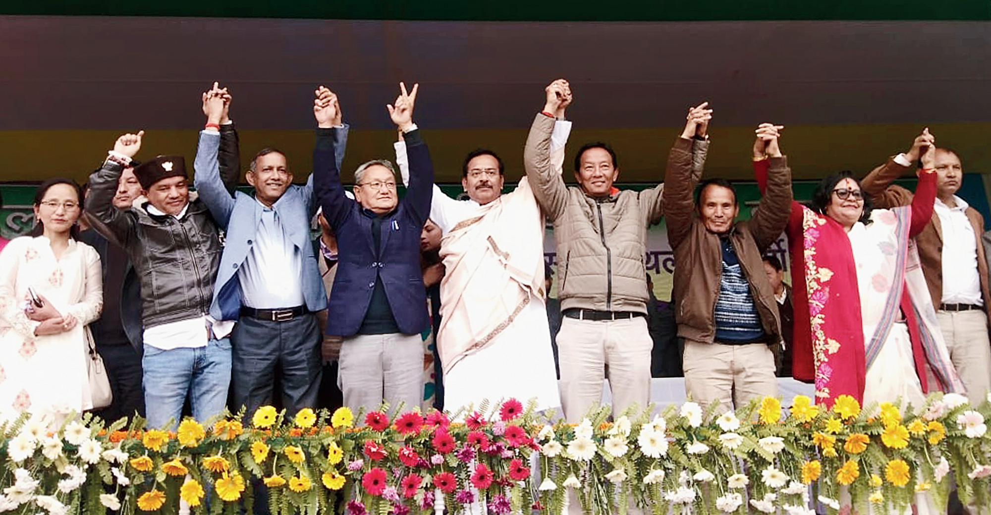 Darjeeling candidate Amar Singh Rai and Morcha and Trinamul leaders at the public meeting in Lebong on Tuesday.