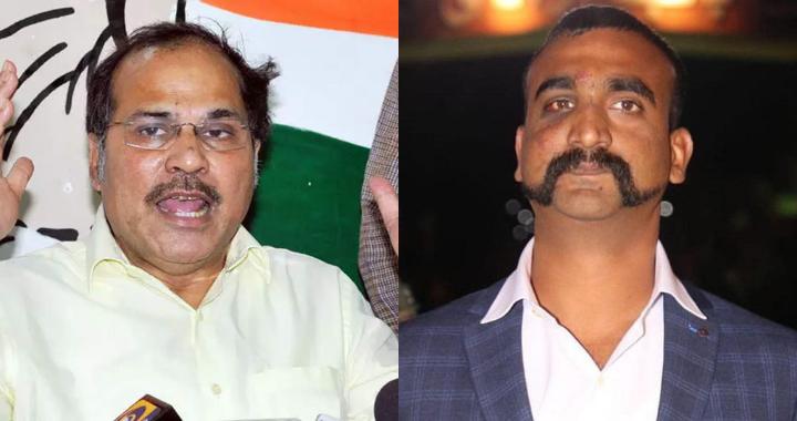 Congress leader Adhir Chowdhury and Abhinandan Varthaman