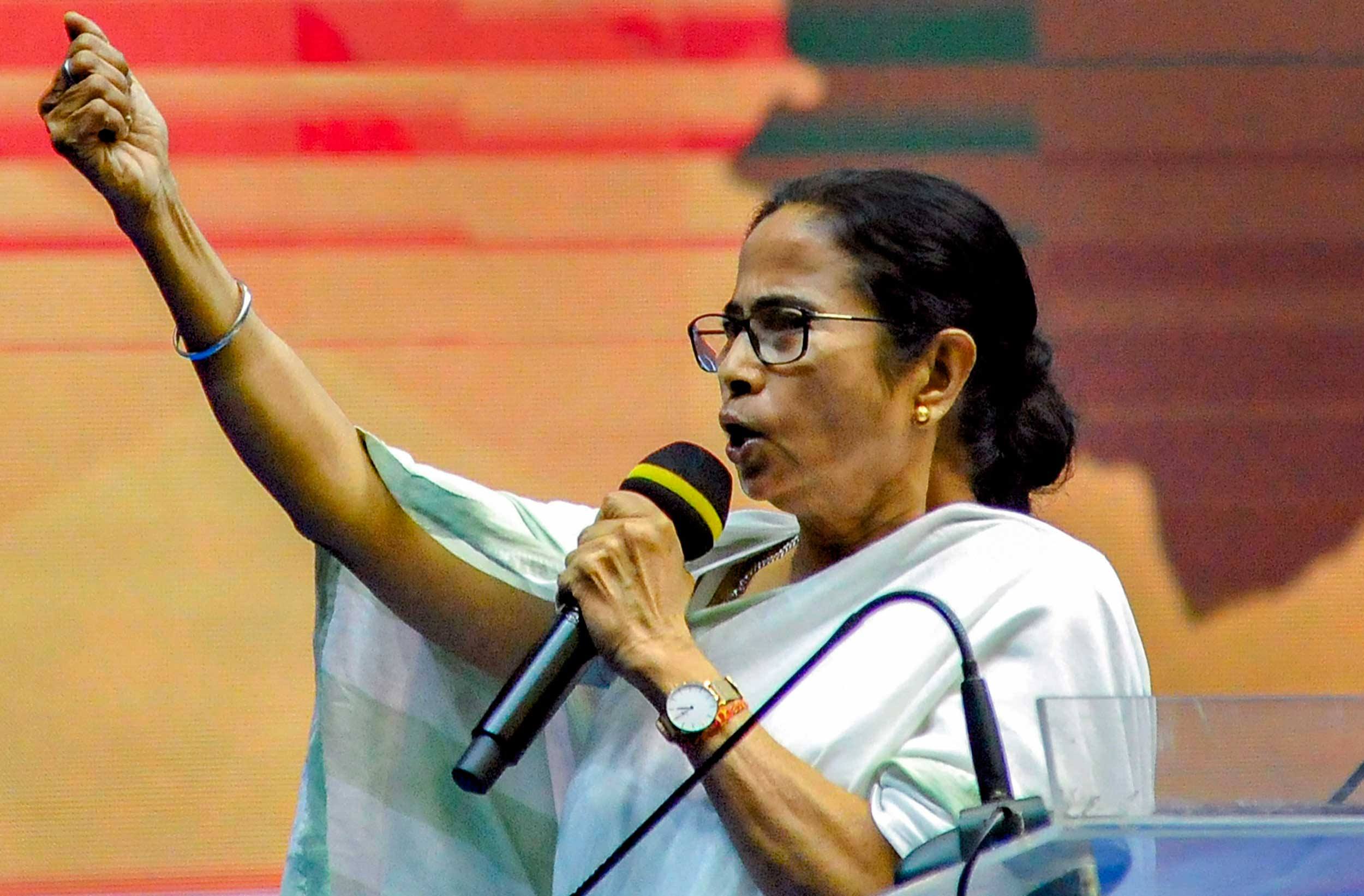 "Mamata Banerjee in Calcutta on Monday. ""The language that you (the BJP) think works in Delhi will not work in Bengal. This is a different soil. Unlike anything else you have encountered in this nation….,"" she said at a party meeting at the Netaji Indoor Stadium."