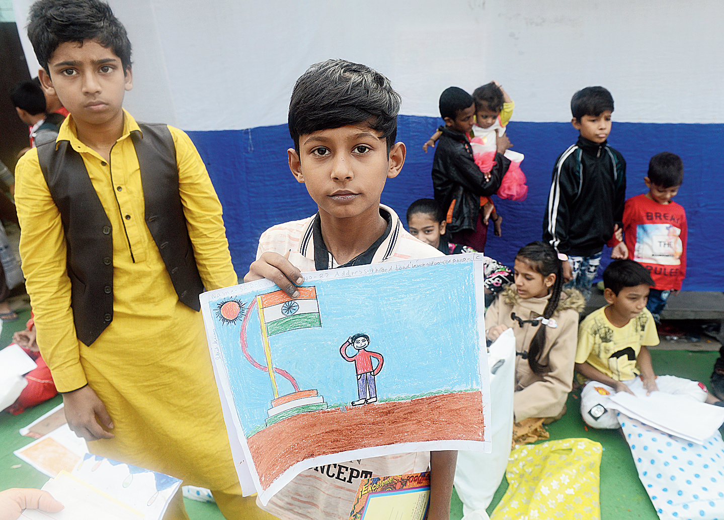 Over 1,000 children participated in the drawing competition on New Year's Day in the neighbourhood with a significant Muslim presence, where conversations at home and outside of late have been mostly about citizenship rights.