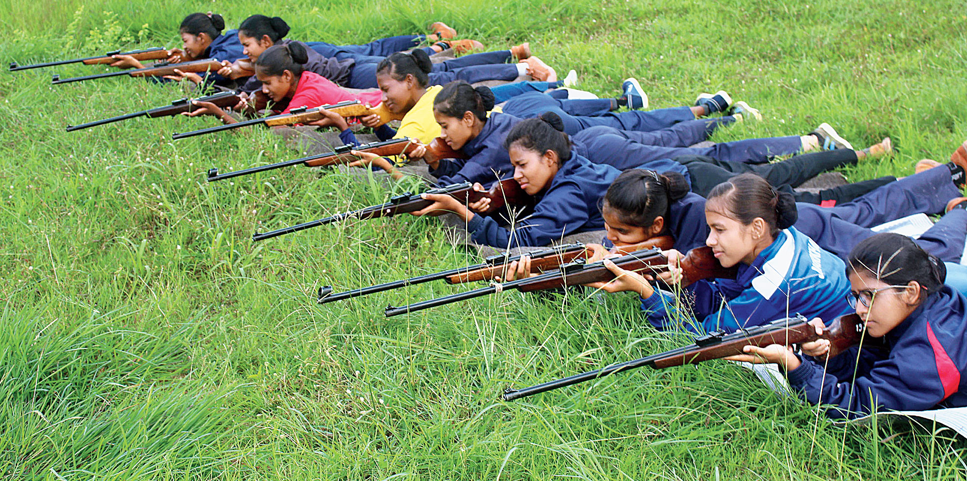 NCC cadets practise shooting at Birsa Munda Athletics Stadium in Hotwar in Ranchi on Thursday.