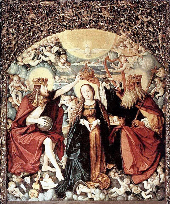 Hans Baldung Green's depiction of the Coronation of the Virgin Mary by God the Father and His Son, Jesus Christ in the presence of the Holy Spirit