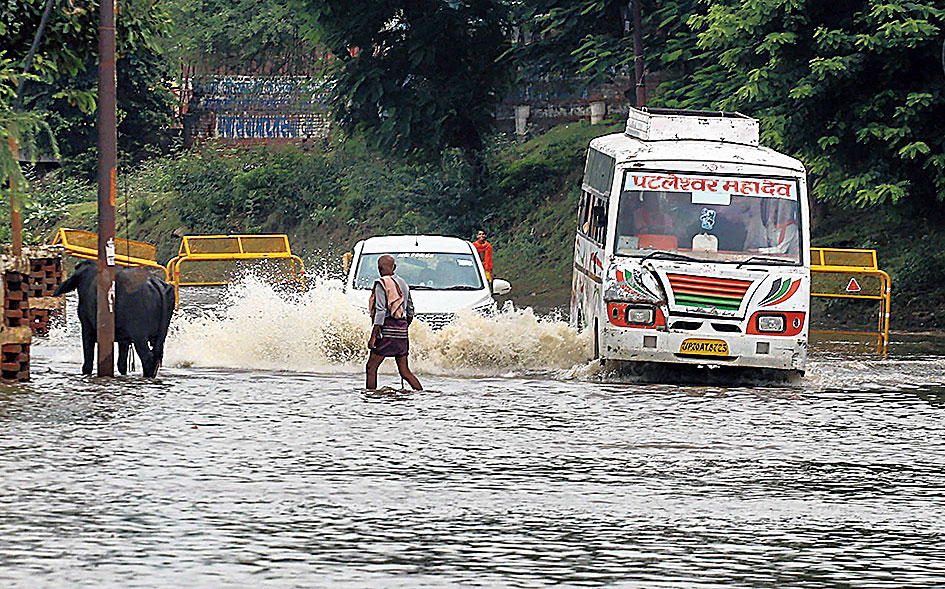 A waterlogged street in Allahabad on Monday.