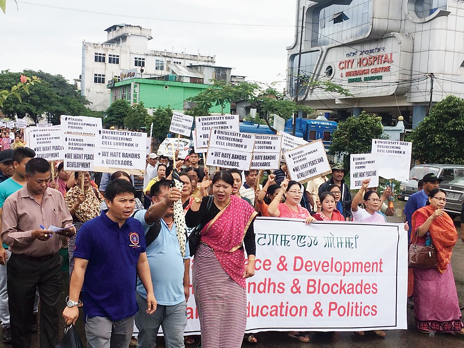 People protest in Imphal demanding an end to the Manipur University impasse.