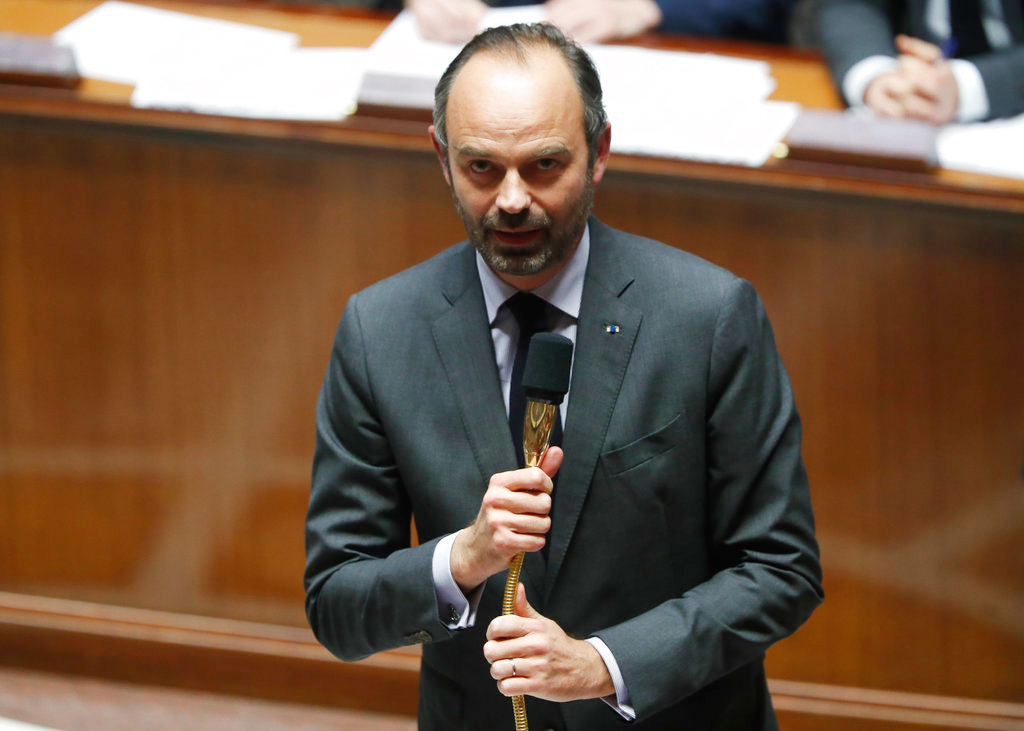 French Prime Minister Edouard Philippe speaks at the National Assembly during the questions to the government session in Paris on Tuesday.