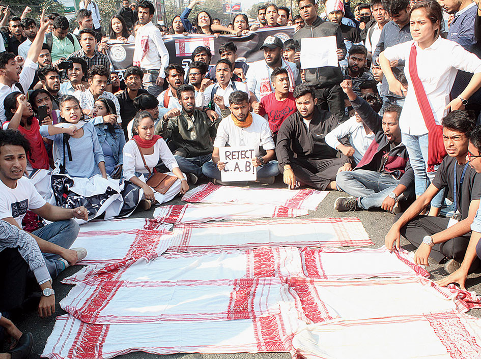 Students protest in Guwahati on Wednesday.