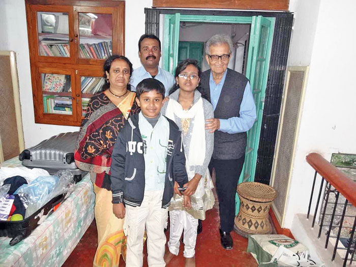 Ali and his family with Amartya Sen