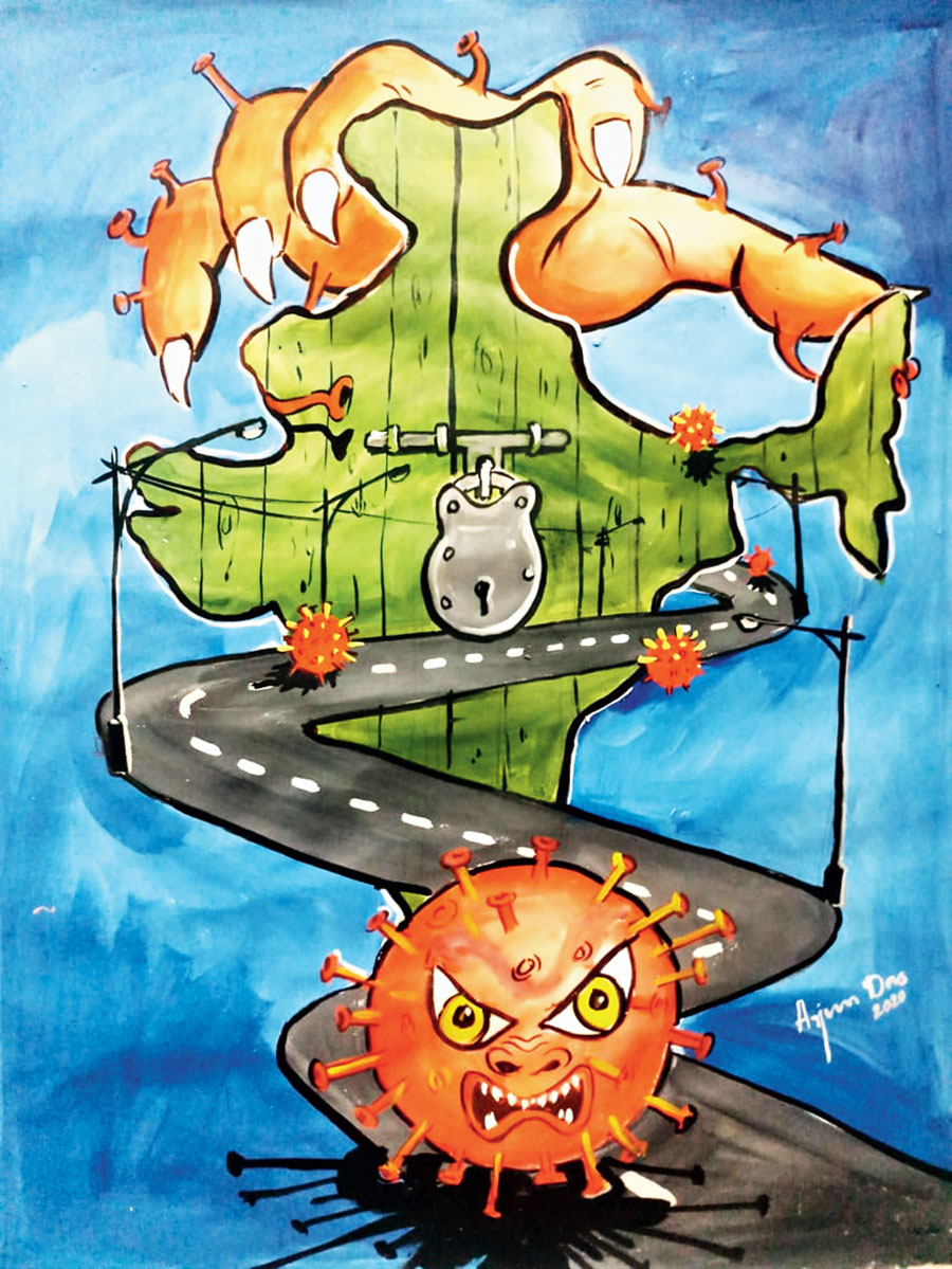 Arjun Das's painting which shows the country's map under lock and key and the symbol of the menacing coronavirus at the end of a road.