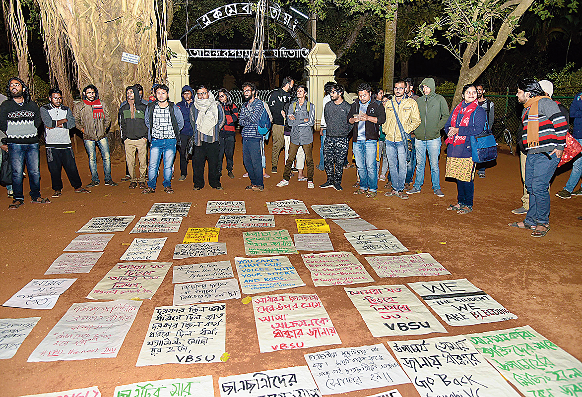 The protest against the VC in front of Upasana Griha on Monday.