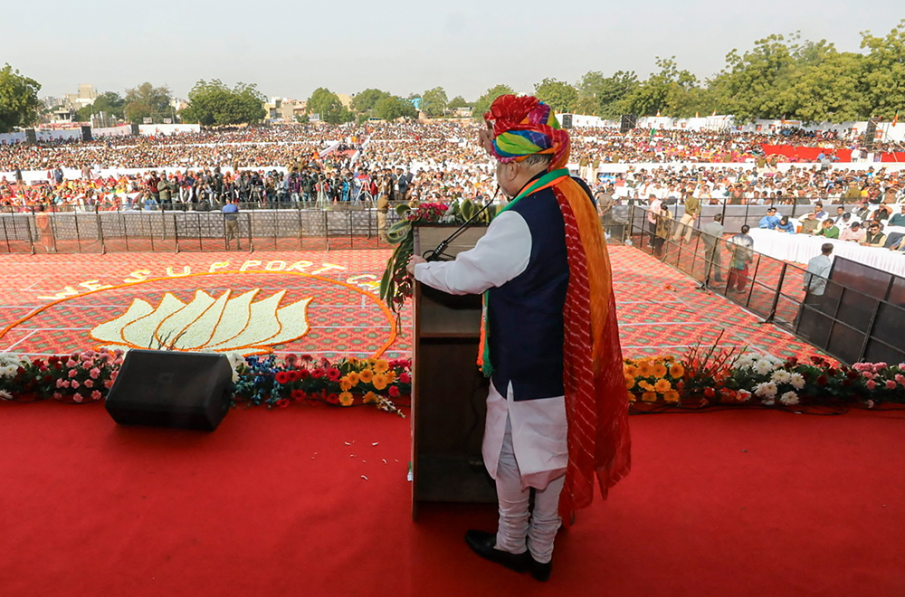 Union Home Minister Amit Shah addresses a public meeting in support of the amended Citizenship Act, in Jodhpur, Friday, January 3, 2020.