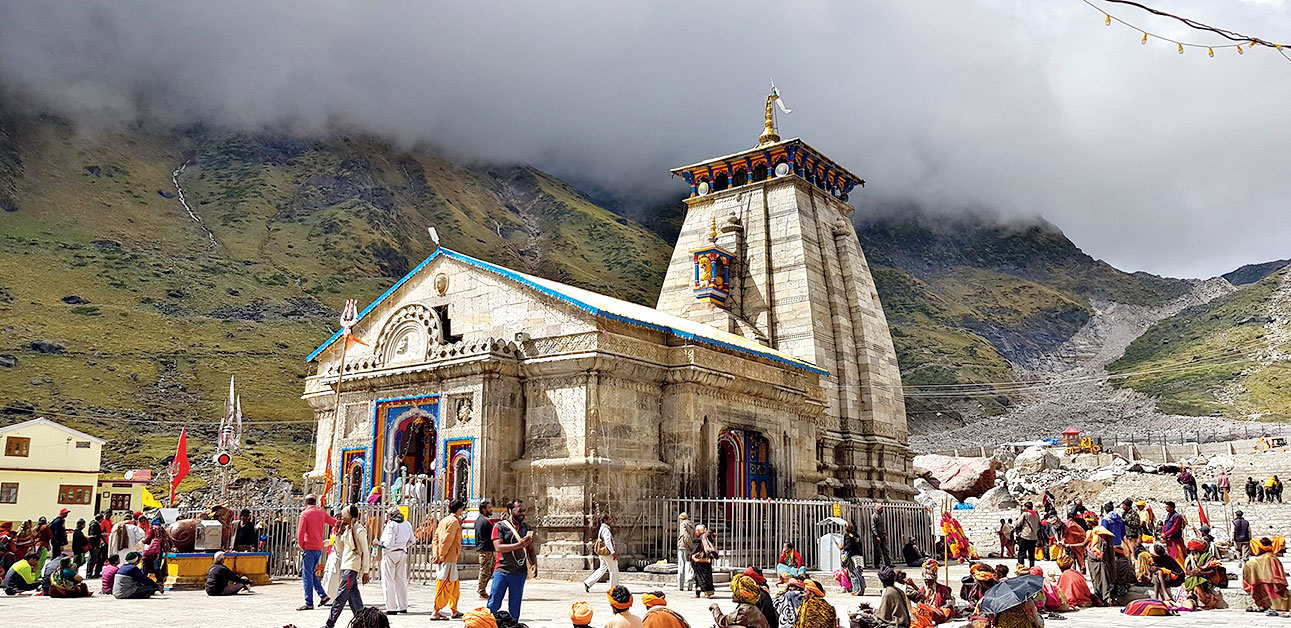 The Badrinath temple in its ultra-bright colours