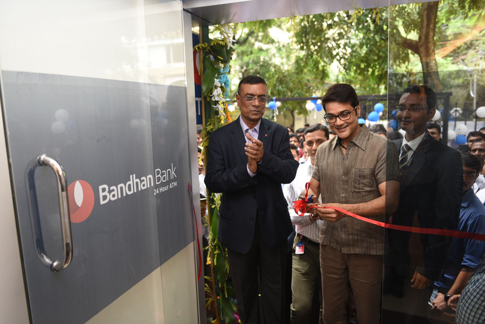 Bandhan Bank CEO and MD Chandra Shekhar Ghosh with actor Prosenjit Chatterjee