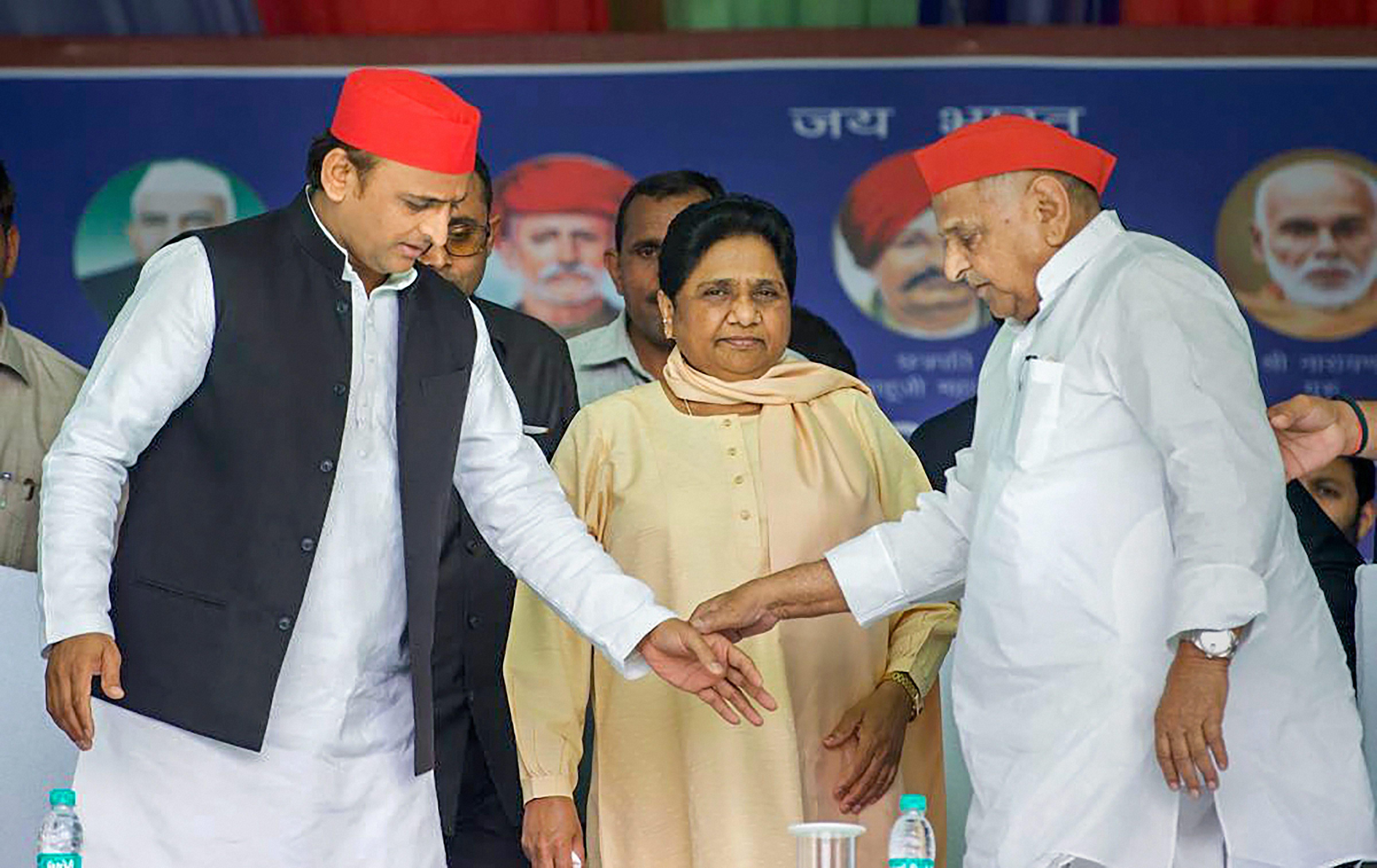 Akhilesh, Mayawati and Mulayam at the Mainpuri rally on April 19.