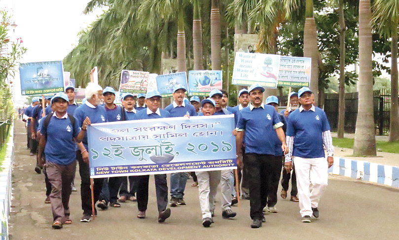 Officials of NDITA bring out a procession headed for Eco Park on the occasion of Save Water Day last Friday.