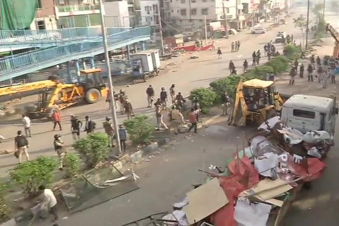 Shaheen Bagh cleared by police on the morning of March 24. 2020.