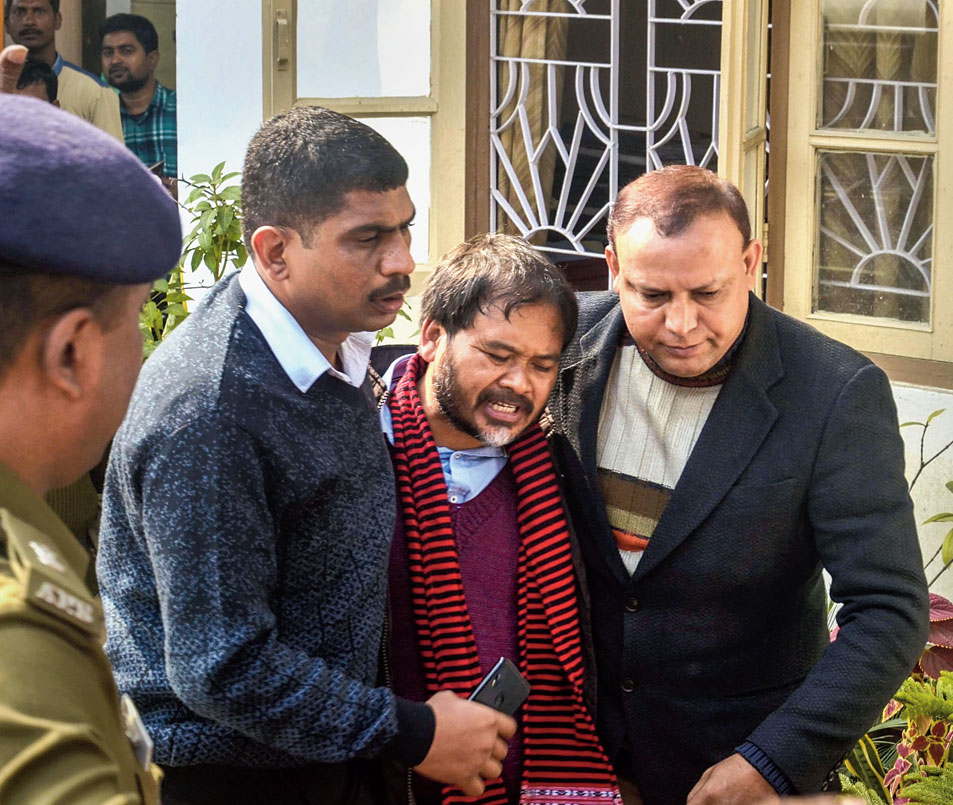 KMSS adviser Akhil Gogoi being produced in an NIA court in Guwahati on Tuesday