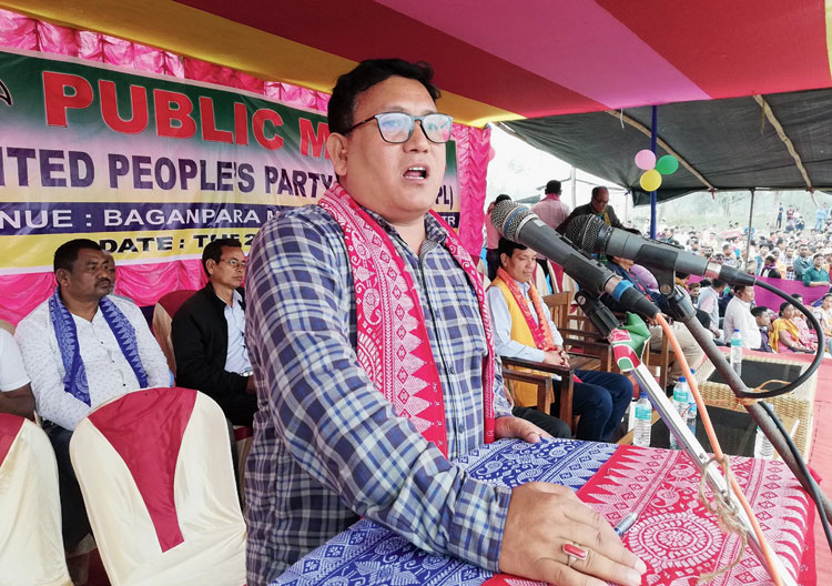 Pramod Boro speaks at an UPPL rally at Baganpara in Baksa district on Tuesday.