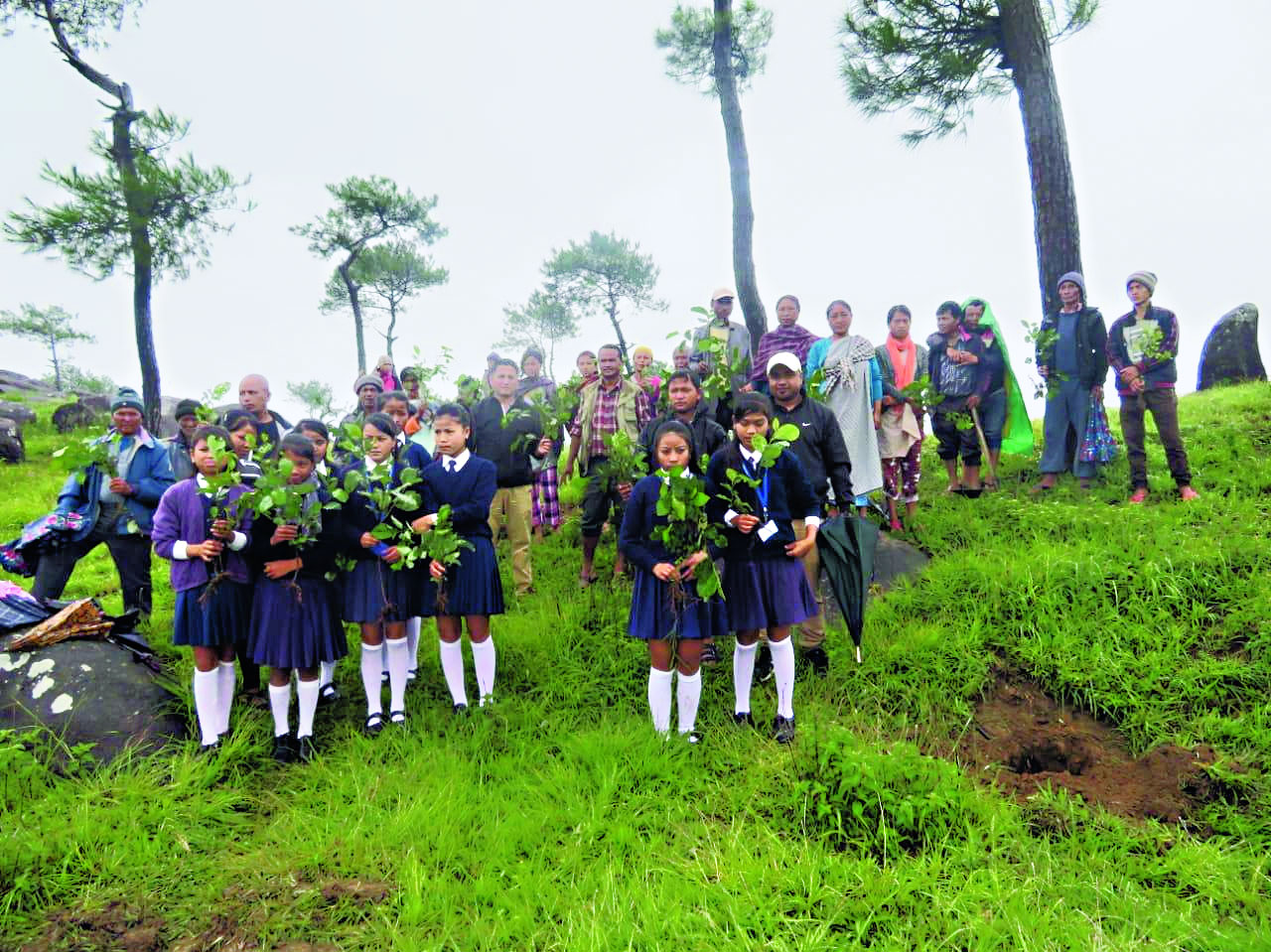 Students take part in a green drive in Meghalaya's South West Khasi Hills on June 5, 2019. Meghalaya has planted 1.5 million saplings on a single day.