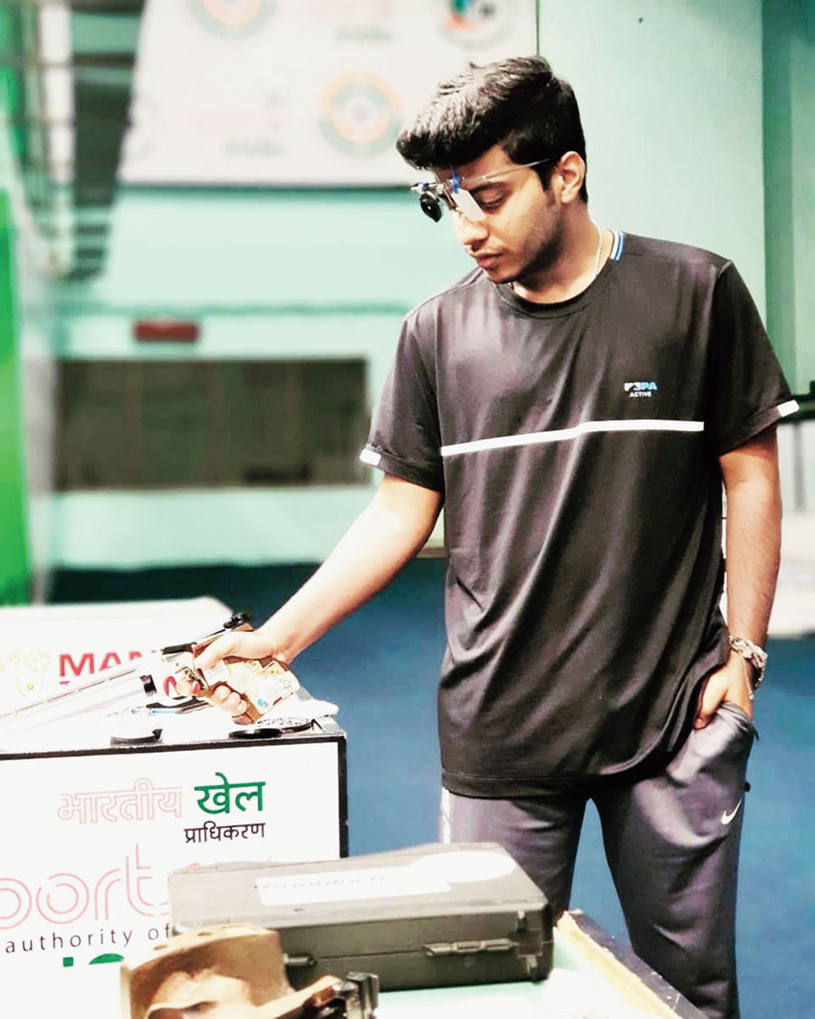 Varun Dubey trains at the Dr Karni Singh Shooting Academy in New Delhi earlier this week.