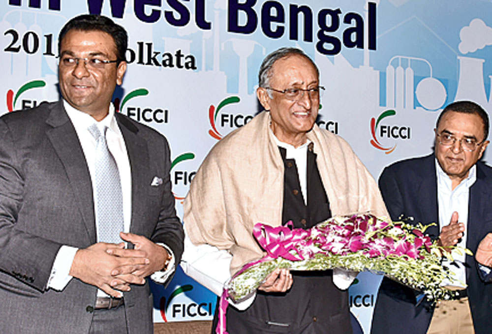 Bengal industry minister Amit Mitra (centre) at a Ficci seminar on the gas industry in Calcutta on Wednesday.