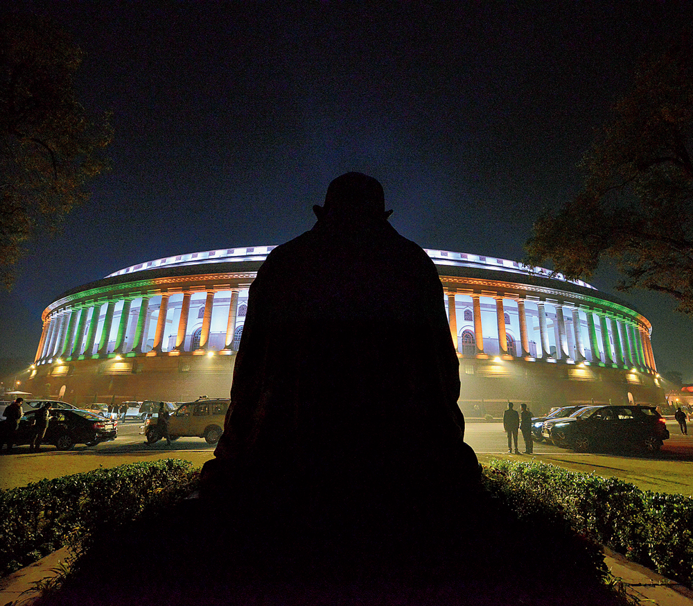 Watched over by what was once a reassuring presence, Parliament House basks in the familiar three colours on Wednesday night when the Rajya Sabha passed the Citizenship (Amendment) Bill