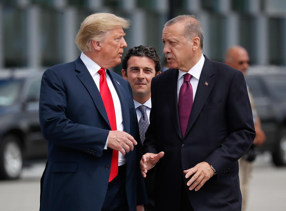 President Donald Trump with Turkey's President Recep Tayyip Erdogan in Brussels last year